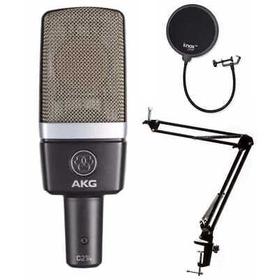 AKGC214 Pro Large-Diaphragm Condenser Mic with Knox Gear Pop Filter and Boom Arm