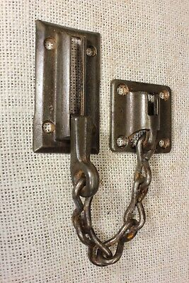 Security chain latch old night lock door rustic cast iron vintage screws