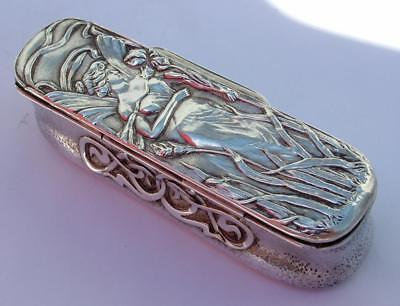 Stunning Silver 1902 Art Nouveau Dressing Table Box Depicting Winged Female