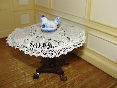 Dollhouse Miniature Blue & White Hand-Painted Sitting Hen Covered Dish