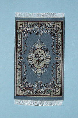 1:12 Scale Dollhouse Miniature Elegant Blue & Beige Victorian Woven Rug #S5606
