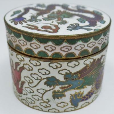 Vintage Chinese Cloisonne Dragon Chasing Pearl Cylindrical Covered Snuff Box Jar