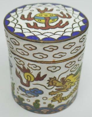 Vintage Chinese Cloisonne Dragon Chasing Pearl Cylindrical Covered Mini Box Jar
