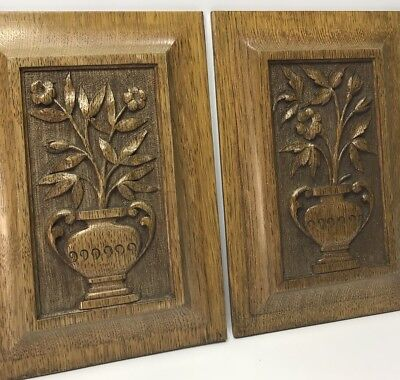 2 Antique Vintage Carved Oak Wooden Wall Panels Plaques - Pair - Great Patina