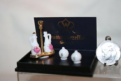 Miniature Dollhouse Reutter Porcelain Cruet Set w Pink Roses Salt/Pepper Shakers