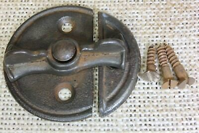 "Cupboard cabinet door Turn button Latch 2"" back plate jelly vintage 1850's"