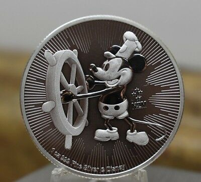 2017 Steamboat Mickey $2 1 oz .999 Silver Round in Plastic Casing BIN FREE SHIP