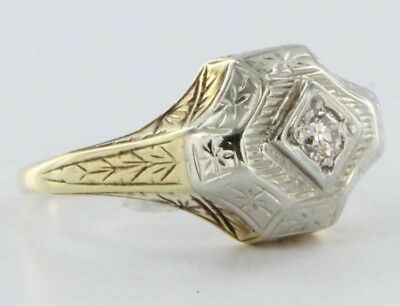 Antique Art Deco 14k Gold Diamond Ring Vintage Fine Jewelry Etched Design