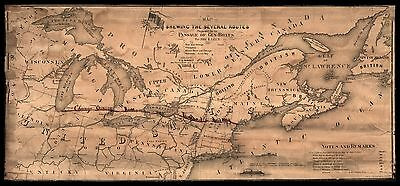 """1862 Map, Midwest, Illinois, Chicago, Oswego Railroad, Great Lakes, 30""""x14"""" Map"""