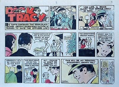 Dick Tracy by Chester Gould - large half-page color Sunday comic - Dec. 15, 1974