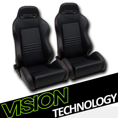 T-R Blk PVC Leather Red Stitch Reclinable Racing Bucket Seats+Sliders V2 L+R V12