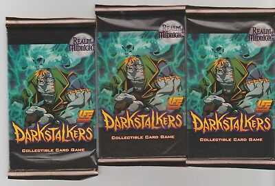 3 x DARKSTALKERS REALM OF MIDNIGHT TCG FACTORY SEALED BOOSTER PACK HARD TO FIND