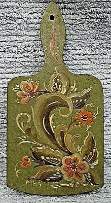 Hand Painted Toleware Rosemal Folk Art Old Wood Kitchen Cutting Board FREE S/H