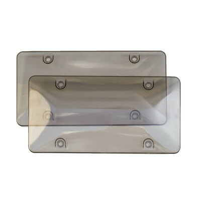 Smoked Clear License Plate Cover Frame Shield Tinted Bubbled Flat Car HY