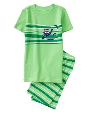 NWT Gymboree Jump into Summer Boys Green Sloth Stripe Pjs Size 18-24 M