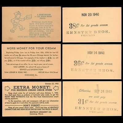1932-1943 US Postal Cards (6) w/ Ag Advertising Buy Prices for First Grade CREAM
