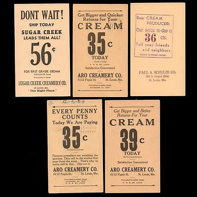 1936-1943 US Postal Cards (5) w/ Ag Advertising Buy Prices for First Grade CREAM