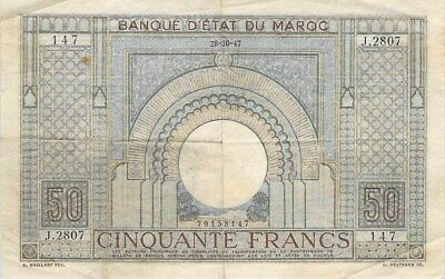 Morocco 50 Francs Note 1947 P-21