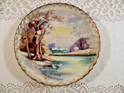 Beautiful Vintage Ucagco Signed Decorator Hanging Plate Made In Japan