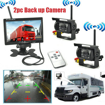 """2 x Wireless Rear View Backup Camera System IR Night Vision+7"""" Monitor for Truck"""