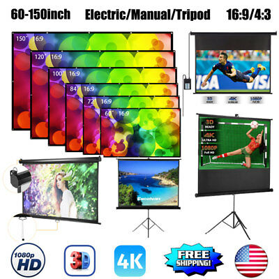 60/72/84/100/120/150inch Projector Screen 16:9/ 4:3 HD Home Theater 3D Movie US