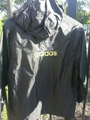 BRAND NEW adidas Youth Large Hooded Windbreaker Jacket BLACK Ships FREE in USA!
