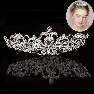Stunning Princess Austrian Bridal Crystal Wedding Hair Tiara Crown Veil Headband