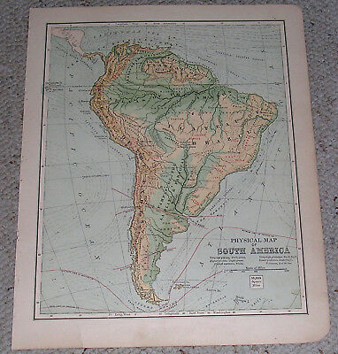 1880s South America Map. Single Page from Geography Book.