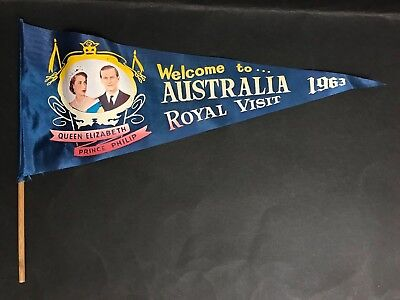 Queen Elizabeth / Prince Phillip Welcome To Australia Royal Visit 1963 Pennant