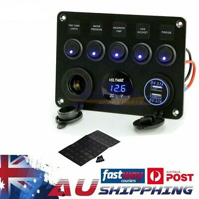 5 Gang ON-OFF Toggle Switch Panel 2USB Charger 12V for Car Boat Marine RV Truck