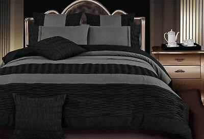 Luxton Lentia Black and Charcoal pintuck King / Queen Duvet cover / Quilt Cover