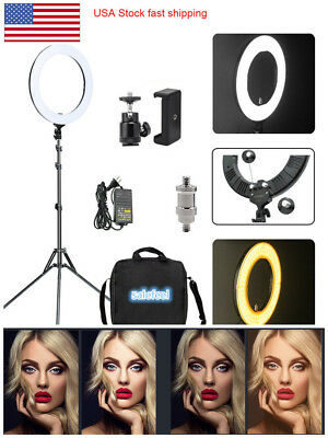 "Universal LED 18"" 448Pc Ring Light Photography Dimmable Adapter Fill Flash Stand"