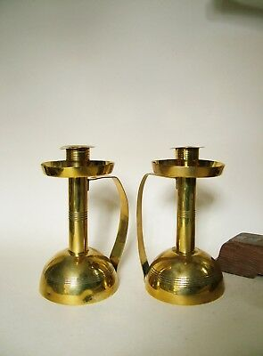 Pair Of Carl Deffner Secessionist Brass Candlesticks. Signed.