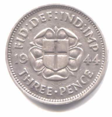 Silver 1944 Three Pence Coin - United Kingdom Great Britain - King George VI