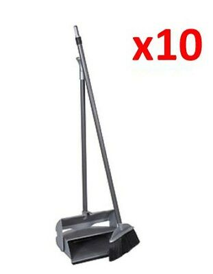 10 x Lobby Dustpan & Brush Self Closing Long Handle Cleaning Set N1FC#