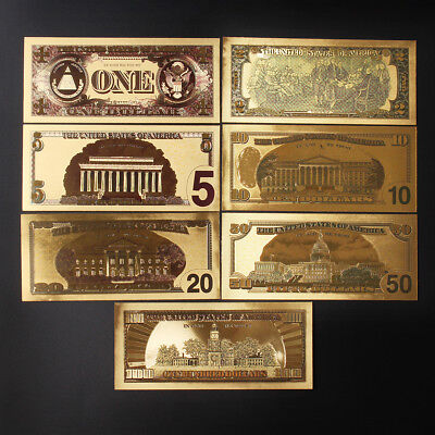 7pcs Dollar Banknotes Fake Paper Money Kids Play Prop 24K Gold Foil Collection