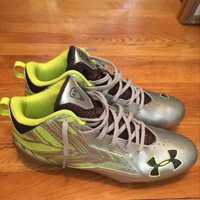 New Under Armour UA Ripshot Mid MC Sz Men 8.5 Silver/Green Molded Lacrosse Cleat