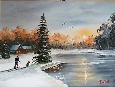 Mal.burton Original Art Oil Painting     Sunrise Winters Morning   Man Dog