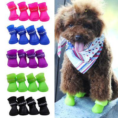 4pcs Pet Shoes Booties Rubber Dog Pet Dog Products Waterproof Rain Boots N3