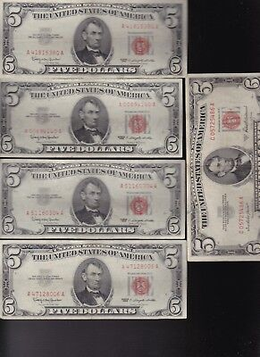 Lot of (5) $5 United States Notes 1953 A 1963 RED SEAL  VG / Fine condition