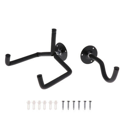 Metal Guitar Bass Horizontal Wall Hanger Hook Holder with Sponge Black