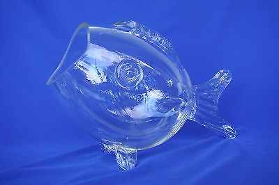 Glass Fish - Clear Glass Fish Shaped Bowl - Art Glass -  Hand Made