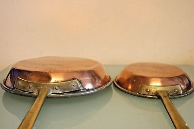 2 French  Copper Frying Pans  with Metal Lining 7'' & 9 1/2'' Across