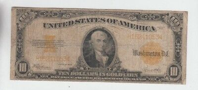 Gold Certificate $10 1922 vg stains