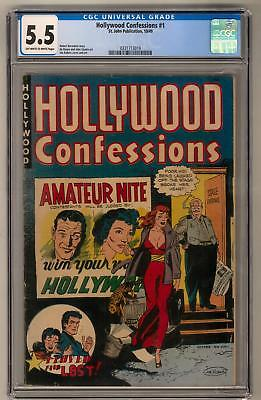 Hollywood Confessions #1 CGC 5.5 (OW-W) Joe Kubert Cover and Art