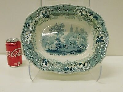 Antique Green Staffordshire Transferware Davenport Muleteer Bowl Baking Dish