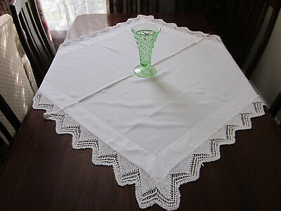 Vintage Hand Worked Fine White Cotton Lace Edged Tablecloth