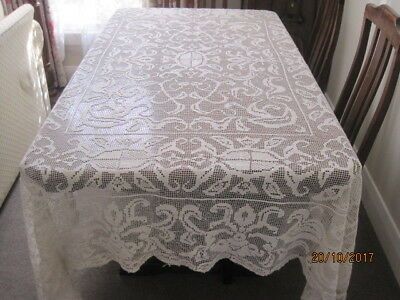 Gorgeous Vintage Cream Filet Lace Or Lacis Tablecloth Or Bedspread