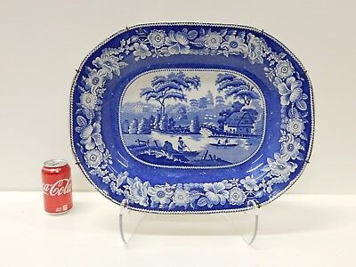 MASSIVE Antique Early 1830s Wild Rose Staffordshire Transferware Platter