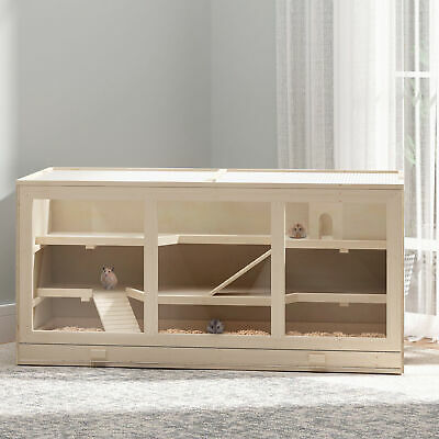 PawHut Fir Wood Cage Hamster House Rat Mice Small Animals Play House